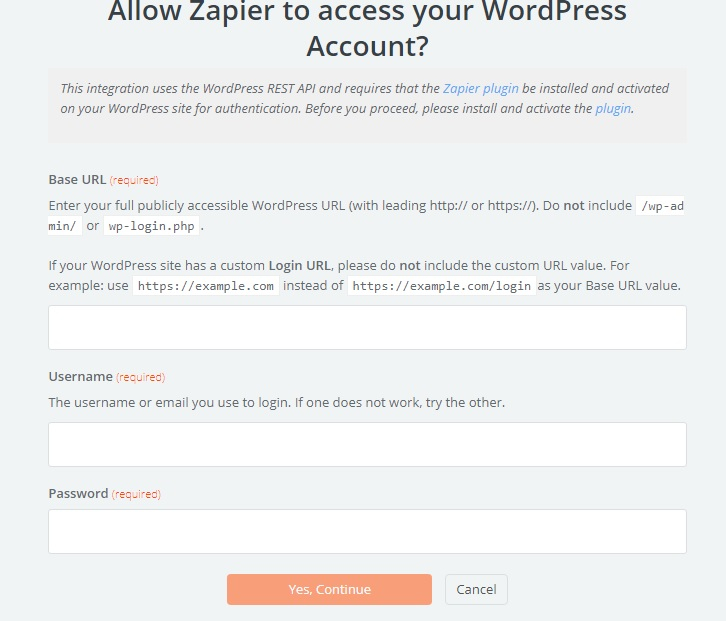 Zapier WordPress —  Integrate WordPress account with Zapier