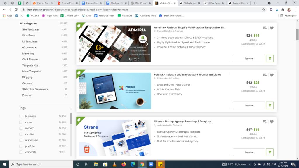 Free vs. premium WordPress themes — Screenshot from Themeforest