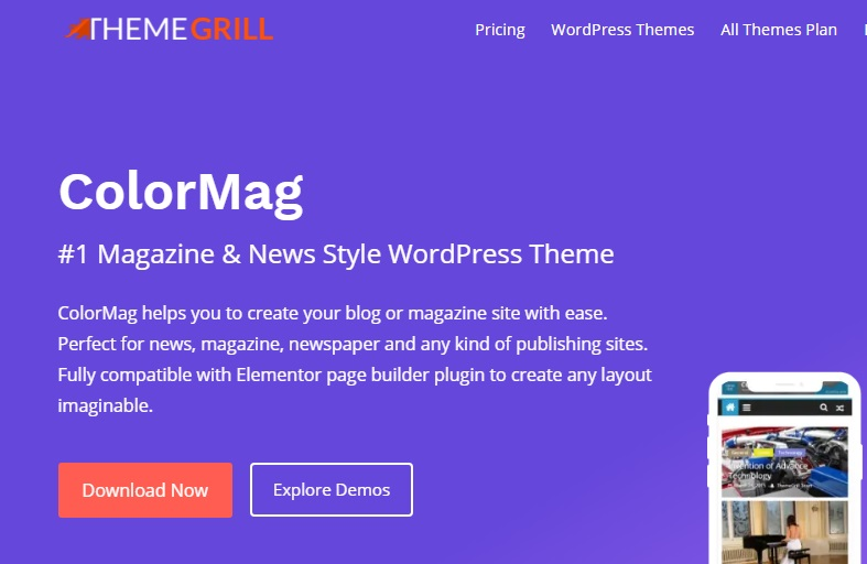 Most popular free WordPress themes — ColorMag