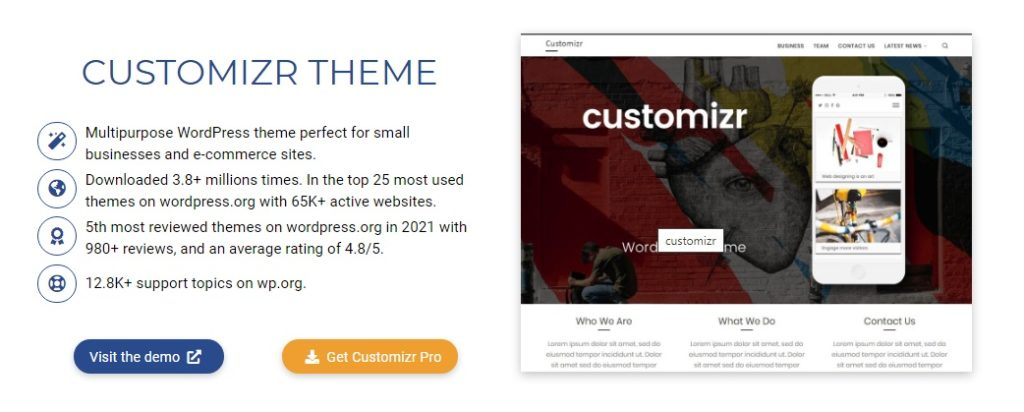 Most popular free WordPress themes — Customizr theme