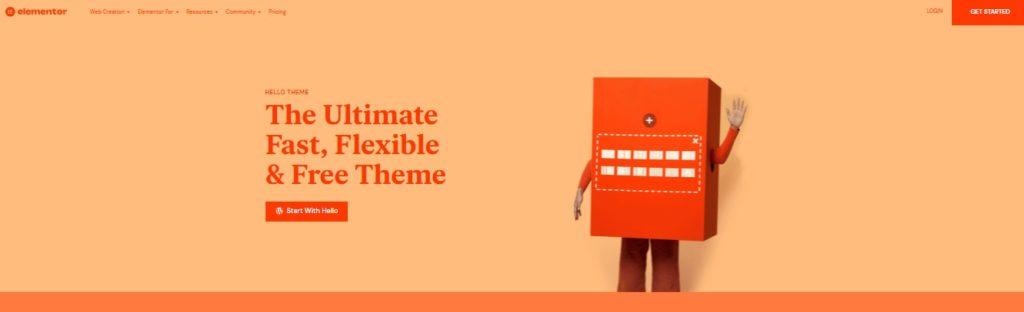 Most popular free WordPress themes — Hello by Elementor