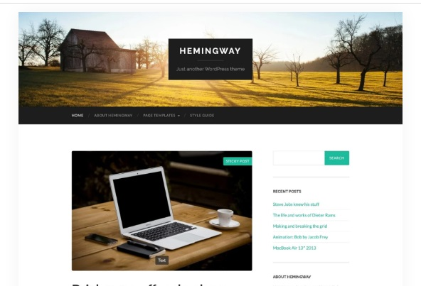 Most popular free WordPress themes — Hemingway