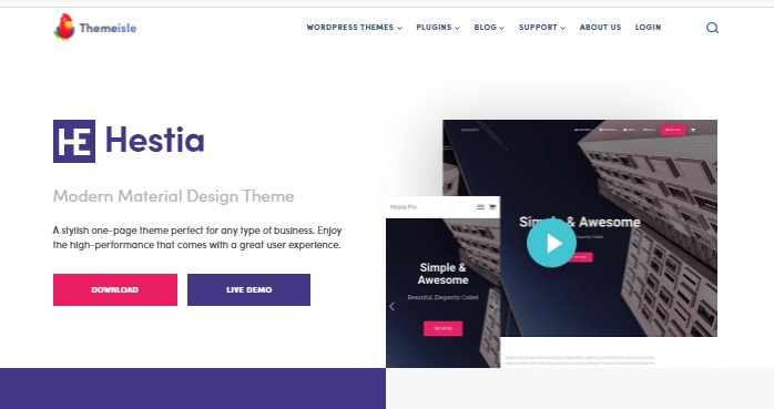 Most popular free WordPress themes — Hestia