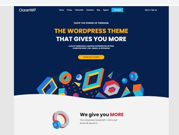 Most popular free WordPress themes — OceanWP