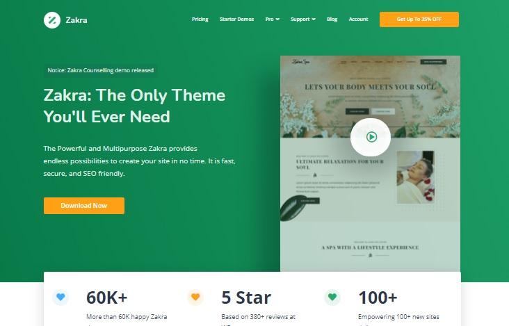 Most popular free WordPress themes — Zakra