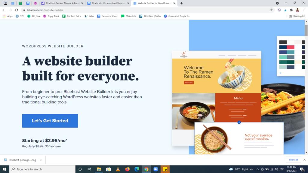 Screenshot of the Bluehost feature — Bluehost's Website Builder