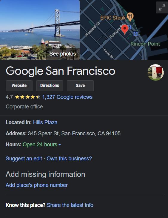 Benefits of google my business — share address on Google Maps