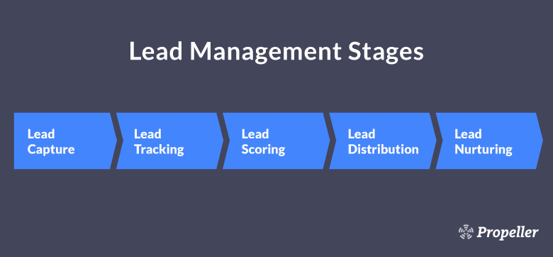Stages in sales lead management — lead generation, lead tracking, lead scoring, lead distribution, and lead nurturing